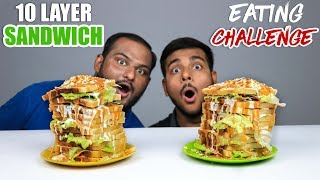 10 LAYER SANDWICH EATING CHALLENGE | Big Saucy ...