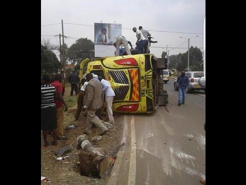 Four dead as a matatu overturns along Langata road