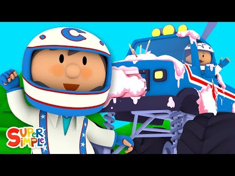 Monty's Monster Truck Is Covered With Cake | Carl's Car Wash | Cartoons For Kids