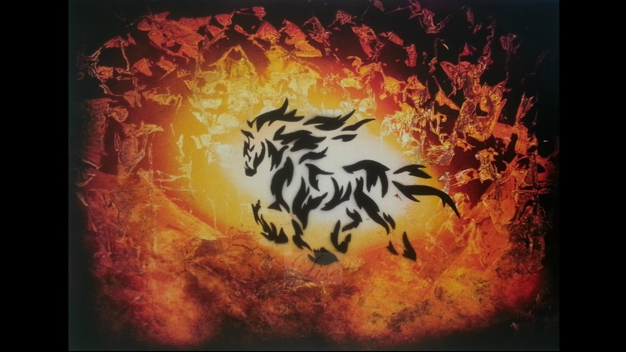 spray paint art - fire horse - made by lise