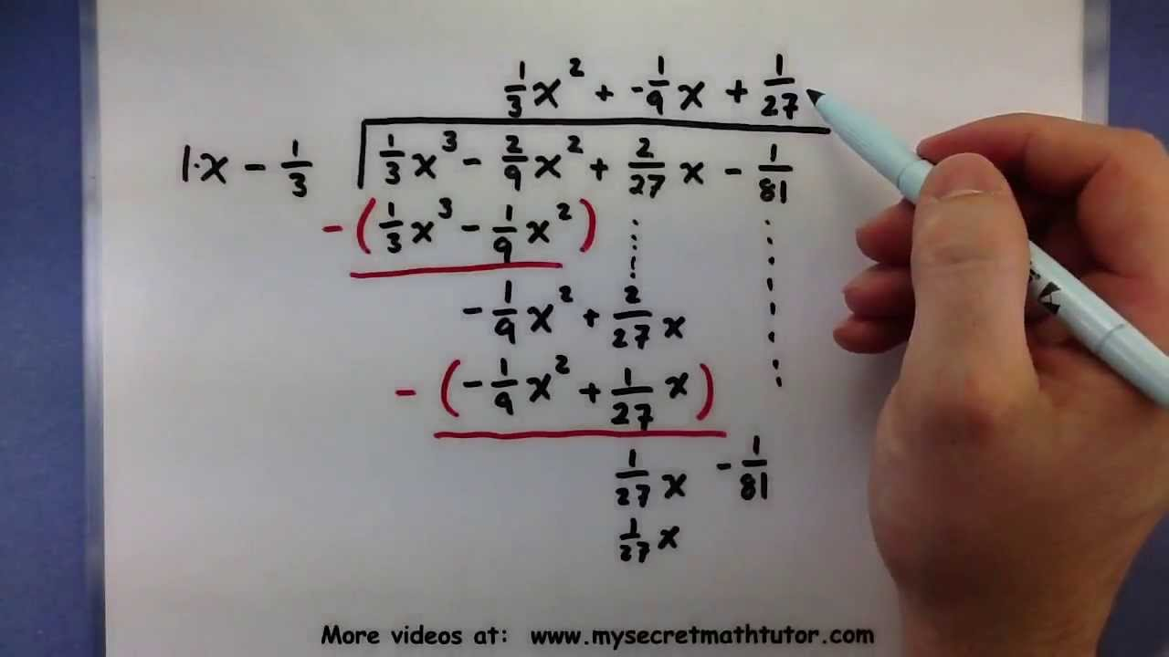 Pre Calculus How To Divide A Polynomial With Fractions Using Long Division Youtube