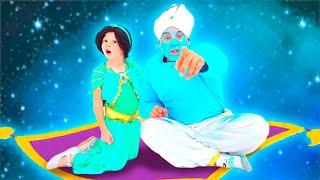 Nastya und Papa spielen mit Aladdins Zauberlampe