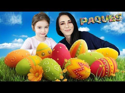 Décoration d'OEUFS de PÂQUES avec Ellie et Mamounette ! Peinture et déco ! Colored eggs.