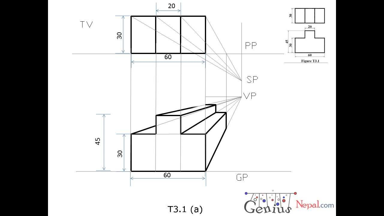 Engineering drawing tutorialsperspective drawings with front and side view t 3 1 a