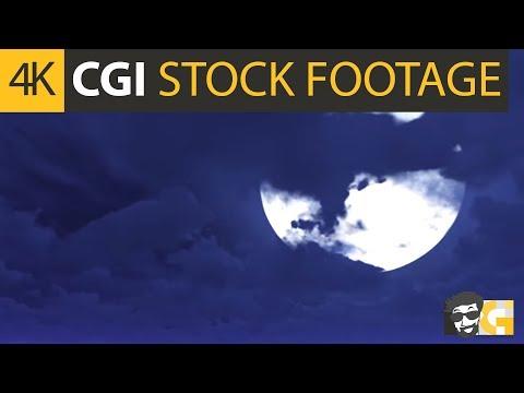 ( CGI 4k Stock Footage ) Spooky full moon night sky