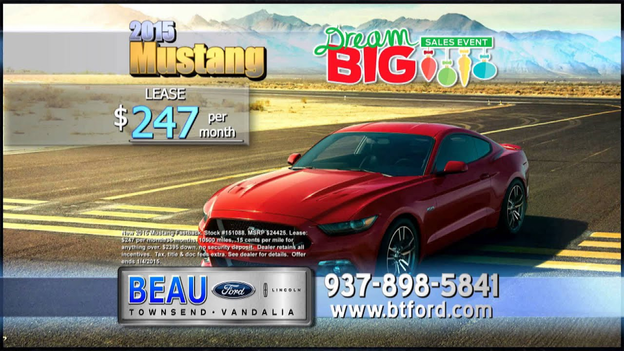 Beau Townsend Ford >> Lease the all-new 2015 Ford Mustang for $247/month - YouTube