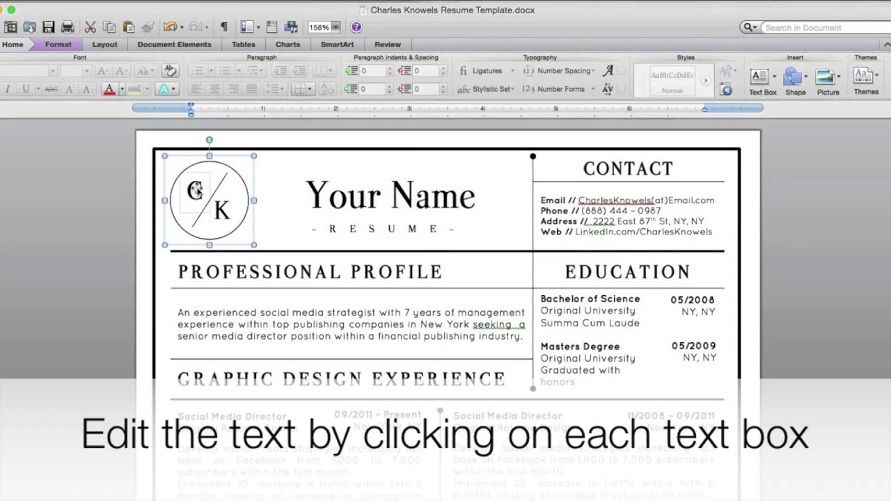 Charles Knowels Modern Resume Template for Microsoft Word How it