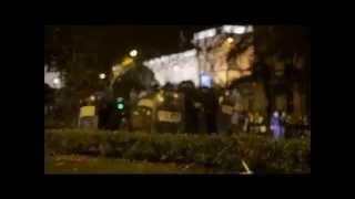 Agresiones a la policía durante la manifestacion el 22M