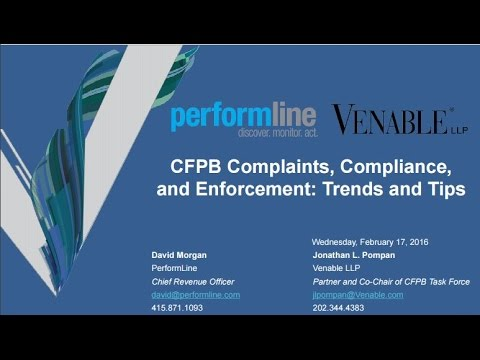 CFPB Complaints, Compliance, and Enforcement: Trends‎ and Tips - February 17, 2016