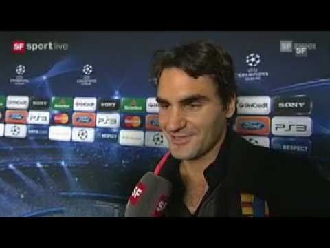 Basel 2010 Brief Interview (German) -  Roger Federer at FC Basel vs Roma Soccer Match