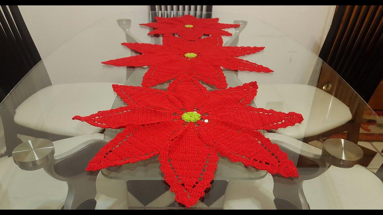 2 flor de nochebuena a crochet para camino o centro de for Centros navidad para mesa