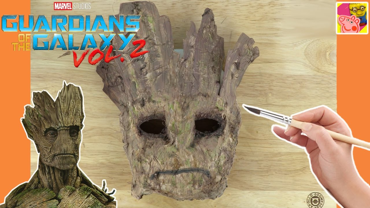 How To Make A Groot Mask From Guardians Of The Galaxy Paper Mache Crafts Crafty Kids
