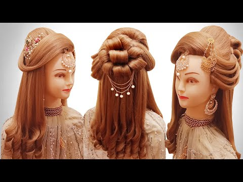 curls-hairstyles- -juda-hairstyle-for-wedding/party/function- -latest-kashees-hairstyle-2020