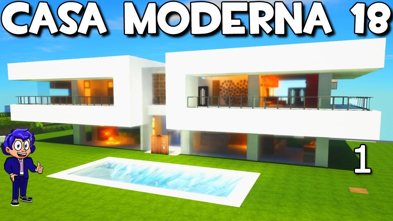 Casa moderna 18 con piscina en minecraft como hacer y for Casa moderna minecraft mirote y blancana