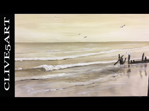 Seascape Easy Acrylic painting for beginners, Acrylic painting,clive5art