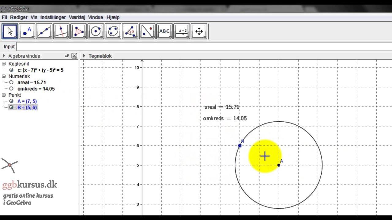 Areal og omkreds af cirkel