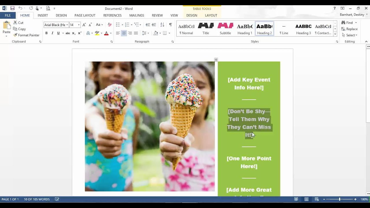 how to create a flyer in microsoft word 2013 youtube