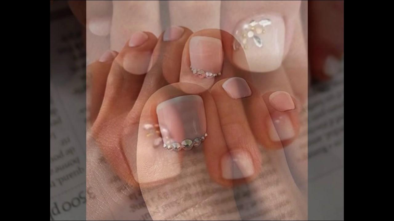 Uñas De Los Pies Decoradas Con Piedras Súper Hermosas Youtube