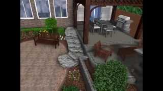 Landscape Design 3d Digital Walkthrough - Open Air Pergola, Raised Patio With Outdoor Fireplace