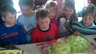 Kids Blowing Out Candle On Alien and Rocket Ship Birthday Cakes - Really Funny!