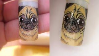 Nail Art: Pug Drawing/  Model Unghiute: Cum Sa Desenezi Un Pug