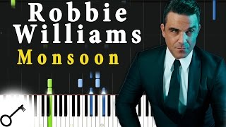 Robbie Williams - Monsoon [Piano Tutorial] Synthesia | passkeypiano