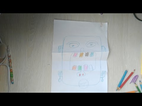 ★ Draw on paper a face with multicolored teeth, with an opening company.
