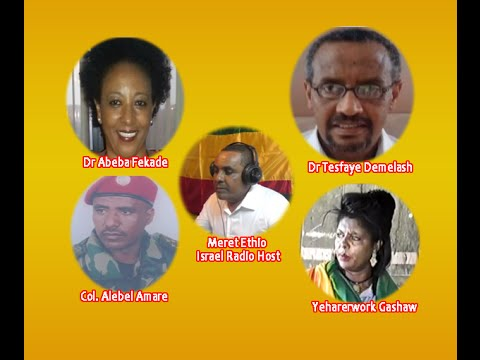 Dr Abeba, Col Alebel, Dr Tesfaye and Harerwork Gashaw on Meret Ethio Israel Radio Dimits Sept 9 2016