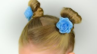 Little horns for little girl. Quick and easy hairstyle for little girl #13