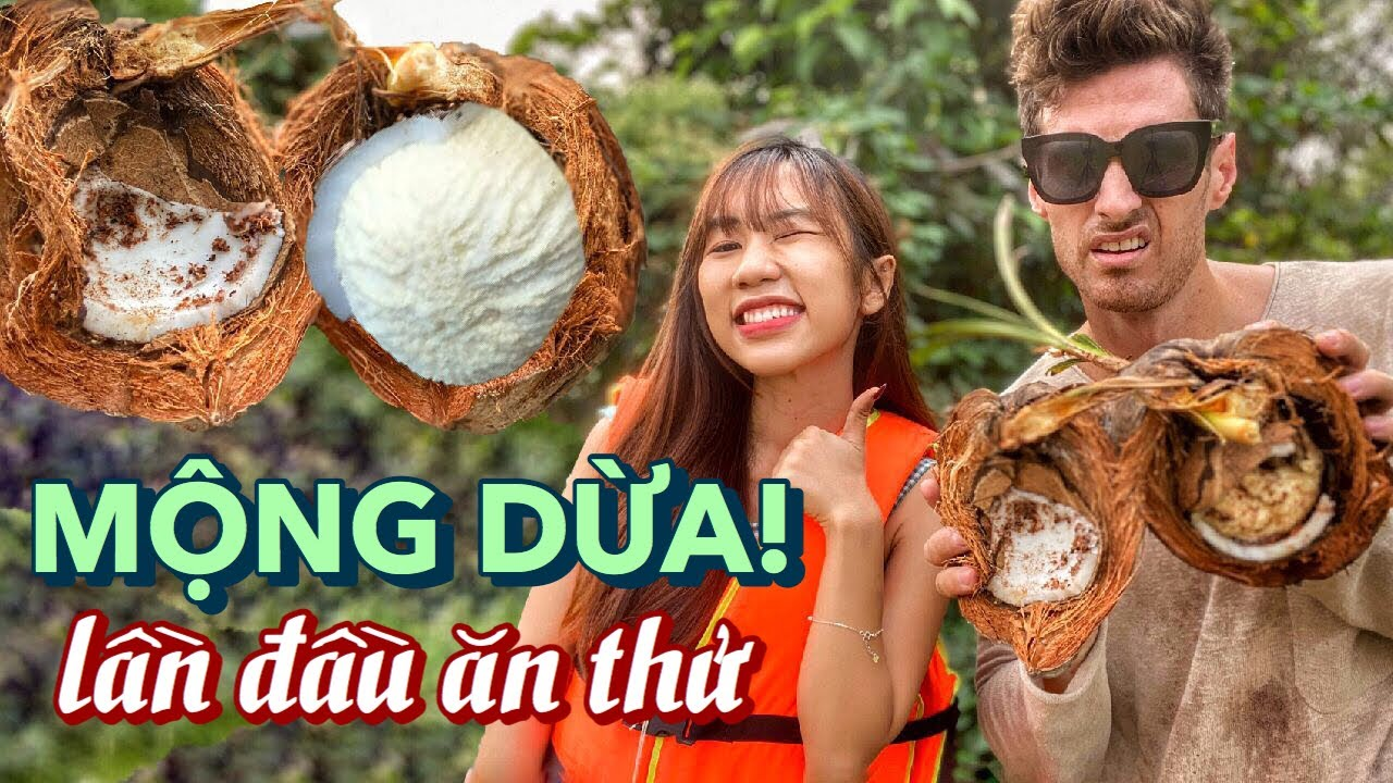 How NOT to open SPROUTED COCONUTS & Taste Test (Coconut Pulp) Ăn Mộng Dừa