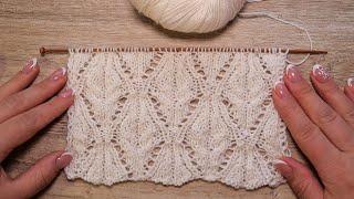 Японский ажурный узор спицами 🌼 Lace knitting pattern