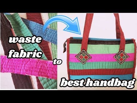 handbag new make from waste fabric at home in hindi