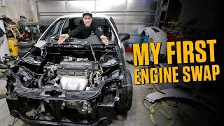 Dropped The H22 In The Honda Civic - First Ever Engine Swap