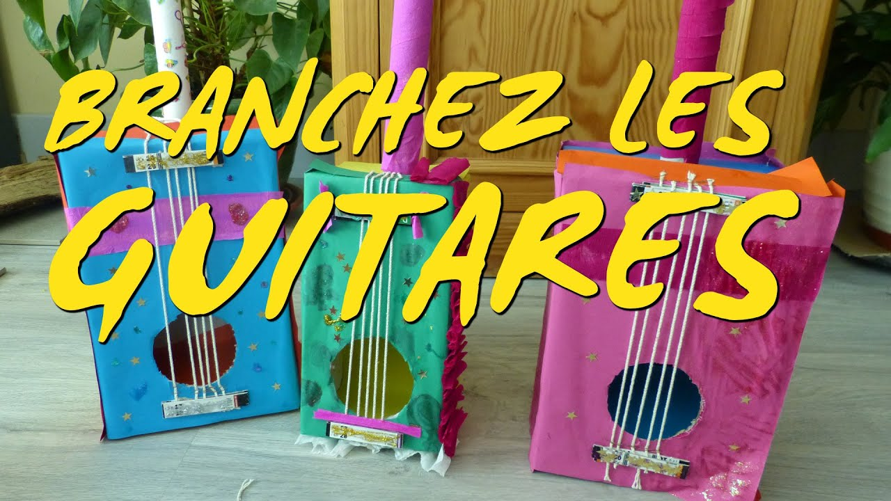 bricolage enfant une guitare r alis e en carton recycl youtube. Black Bedroom Furniture Sets. Home Design Ideas