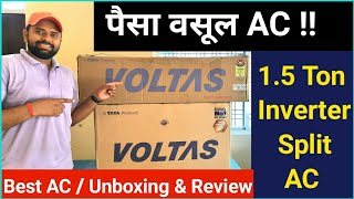 Voltas 1.5 Ton 5 Star Inverter Split AC (Copper 185VDZV2 R410A) Unboxing & Detail Review in HINDI