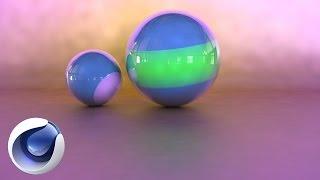 Красивые глянцевые шарики в cinema4D