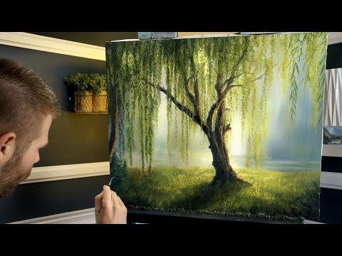 Willow Tree Sunlight Landscape Painting