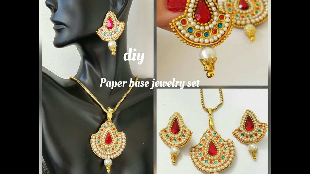 How To Make DesignerJewelry SetPaper EarringsMade out of Paperdiy