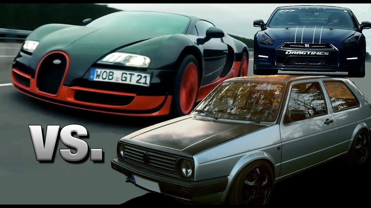 16vampir vw golf 2 awd vs bugatti veyron super sport vs doovi. Black Bedroom Furniture Sets. Home Design Ideas