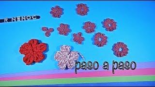 Repeat youtube video Como tejer flor punto alargado ganchillo, crochet easy flower DIY