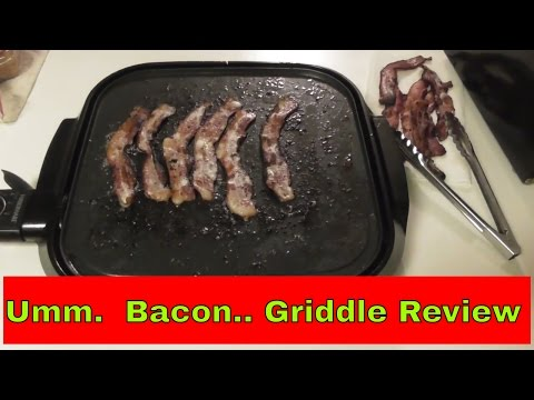Review Walmart/ Farberware G767 14″ Griddle cook bacon eggs and hamburgers.  #FreeAmericanSpirit