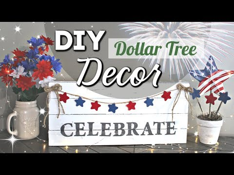 4th Of July DOLLAR TREE DIY | DIY Dollar Tree Home Decor Dollar Tree Items | Krafts By Katelyn