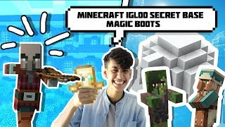 Minecraft Igloo Secret base☃️ With Magical Snow boot and woodland Mansion   Funny hindi minecraft PE