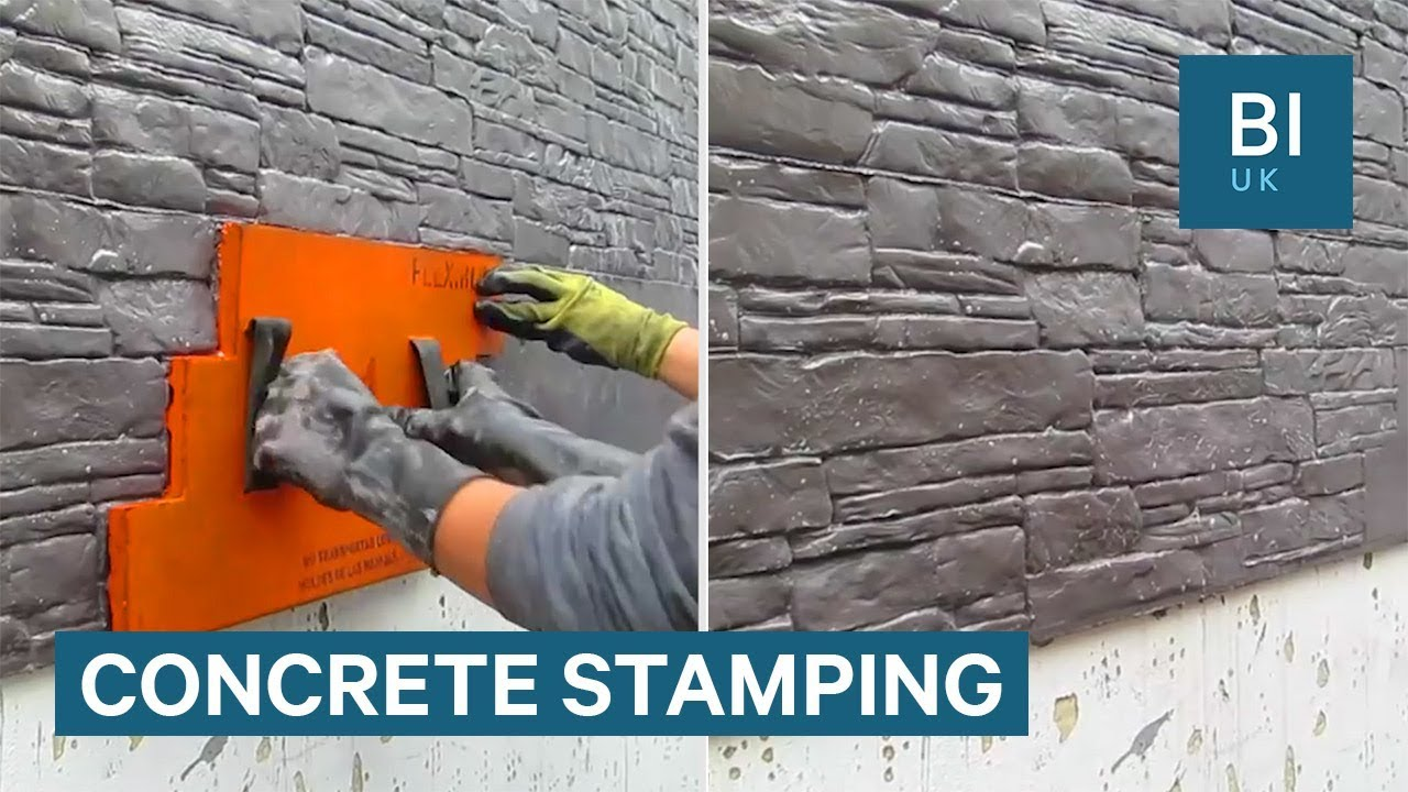 Stamps Can Make Plain Concrete Look Like Masonry Youtube