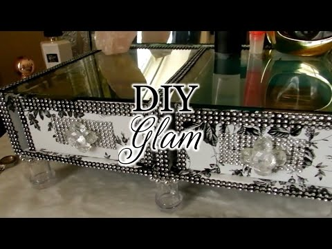 DIY Glam Elegant Vanity Makeup Display/Organizer |Dollar Tree DIY Elegant Makeup Organizer