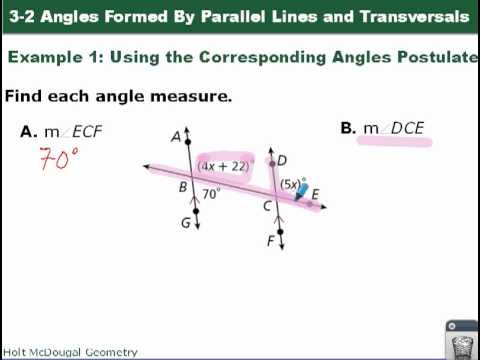 Geometry 3 2 Angles Formed By Parallel Lines And Transversals Youtube