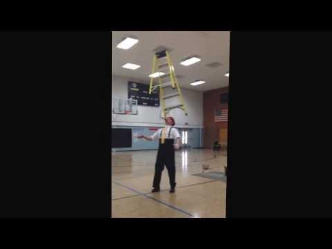 Kenny Ahern having a little ladder fun at Faribault Lutheran Schools 1/17/14