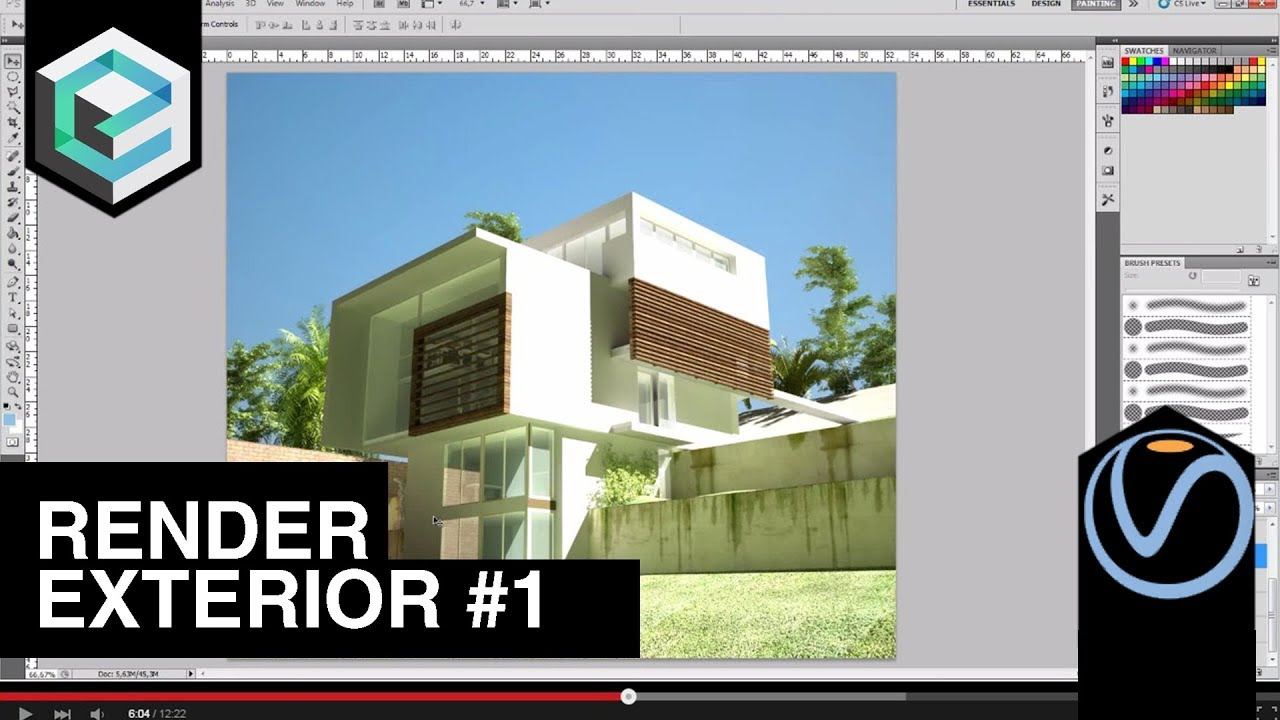 Render exterior 3ds max con photoshop parte 1 youtube for Exterior 3ds max model