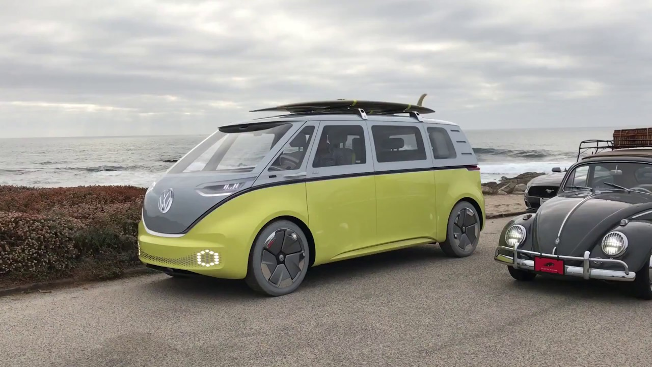 vw id buzz sneak peek  pebble beach launch youtube