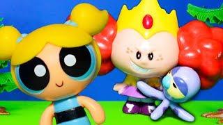 POWERPUFF GIRLS Cartoon Network Princess Morbucks Steals Townsville with PJ Masks Toys Video